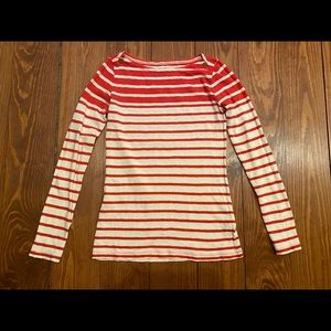 J.crew red and white striped painters tee xs